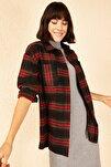 Kadın Kırmızı-Haki Ön Çift Cepli Kaşe Gömlek 10141039