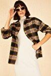 Kadın Sarı-Pembe Desenli Cepli Kaşe Gömlek 10141032
