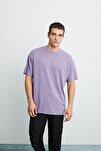 JETT Erkek Mor Basic Kısa Kollu Oversize T-Shirt
