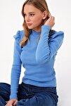 Kadın Mavi Prenses Kol Yarım Balıkçı Şardonlu Crop Bluz ALC-X5042