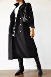 Kadın Siyah Şal Yaka Düğmeli Trençkot 1KZK4-10759-02
