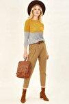 Kadın Camel Deri Kemerli Gabardin Pantolon