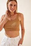 Kadın Bisküvi Askılı Fitilli Crop Örme Bluz GT00030