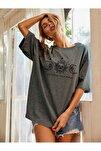 Kadın Koyu Gri Oversize Celestial Sun Moon Baskılı T-shirt