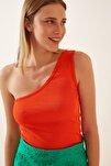 Kadın Oranj Tek Omuz Fitilli Örme Bluz GT00028