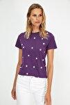 Mor Yıldız Baskılı Basic Örme T-Shirt TWOSS20TS0757