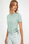 Mint Büzgülü Basic Örme T-Shirt TWOSS21TS0131