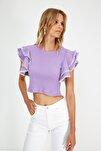 Lila Fırfırlı Örme Bluz TWOSS21BZ0736