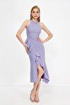 Lila Volan Detaylı Elbise TPRAW19BB0144
