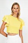 Sarı Fırfırlı Örme Bluz TWOSS21BZ0736