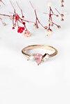 Pembe Taşlı Bükülmüş 14 K Rose Altın Kaplama Kadın Yüzük