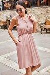 Kadın Gül Kurusu Beli Lastikli Üstü Düğmeli Elbise ARM-18Y001152