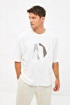 Ekru Erkek Kısa Kollu Oversize Fit Baskılı T-Shirt TMNSS21TS1075