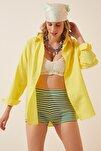 Kadın Sarı Oversize Uzun Basic Gömlek  DD00842
