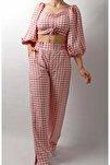 Kadın Pembe Piti Kareli Crop Pantolon Takım