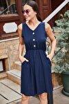 Kadın Lacivert Beli Lastikli Üstü Düğmeli Elbise ARM-18Y001152