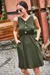 Kadın Haki Beli Lastikli Üstü Düğmeli Elbise ARM-18Y001152
