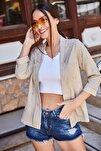 Kadın Bej Kabartmalı Puanlı Blazer Ceket ARM-21Y001030