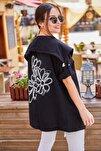 Kadın Siyah Sirti Çiçek Baskili Mevsimlik Ceket ARM-20K024030