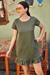 Kadın Haki Kısa Kollu Altı Fırfırlı Elbise ARM-20Y001032