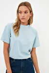 Mavi Dik Yaka Basic Örme T-shirt TWOAW20TS0096