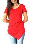 Kadın Kırmızı Asimetrik Bisiklet Yaka Tunik Tshirt