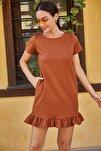 Kadın Taba Kısa Kollu Altı Fırfırlı Elbise ARM-20Y001032
