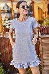 Kadın Gri Kısa Kollu Altı Fırfırlı Elbise ARM-20Y001032