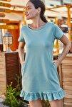 Kadın Yeşil Kısa Kollu Altı Fırfırlı Elbise ARM-20Y001032