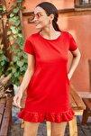 Kadın Kırmızı Kısa Kollu Altı Fırfırlı Elbise ARM-20Y001032