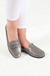 Kadın Platin Kolej Günlük Casual Babet Ayakkabı