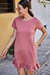 Kadın Gül Kurusu Kısa Kollu Altı Fırfırlı Elbise ARM-20Y001032