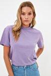 Lila Dik Yaka Basic Örme T-shirt TWOAW20TS0096