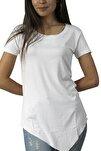 Kadın Beyaz Asimetrik Bisiklet Yaka Tunik T-Shirt