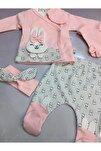 Bebek Pembe Tavşanlı Bandanalı Yeni Doğan Pamuklu Zıbın Set 5 Li 1007010