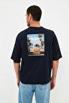 Lacivert Erkek Kısa Kollu Baskılı Oversize T-Shirt TMNSS21TS0619