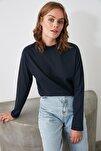 Lacivert Uzun Kollu Dik Yaka Örme T-Shirt TWOAW20TS0233