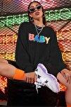 Mad Girls Siyah Baby Baskılı Sweatshirt MG791