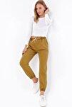 Kadın Olive Beli Ve Paçası Lastikli Jean Pantolon ALC-X4971