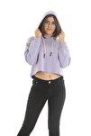 Kadın Lila Kapüşonlu Crop Sweatshirt/hoddie Ylkn0031
