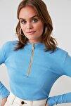 Mavi Fermuar Detaylı Örme Bluz TWOAW20BZ0512
