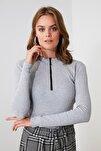 Gri Fermuar Detaylı Örme Bluz TWOAW20BZ0512