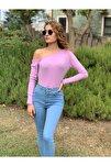 Kadın Lila Kayık Yaka Bluz