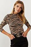 Kadın Camel-Siyah Yarım Balıkçı Zebra Desen Bluz LPP1133