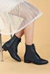 Kadın Lacivert Cilt Bağcıklı Termo Taban Bot Ayakkabı 007-01