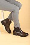 Erkek Kahverengi Taban Fermuarlı Bot Ayakkabı