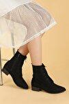 Kadın Siyah Süet Bağcıklı Termo Taban Bot Ayakkabı 007-01