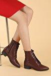 Kadın Bordo Cilt Bağcıklı Termo Taban Bot Ayakkabı 007-01