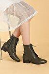 Kadın Haki Cilt Bağcıklı Termo Taban Bot Ayakkabı
