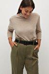 Kadın Haki Renk Daralan Kısa Paçalı Pantolon 77067110
